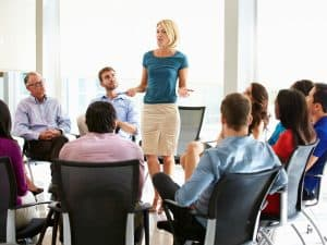 Businesswoman Getting Staff Feedback