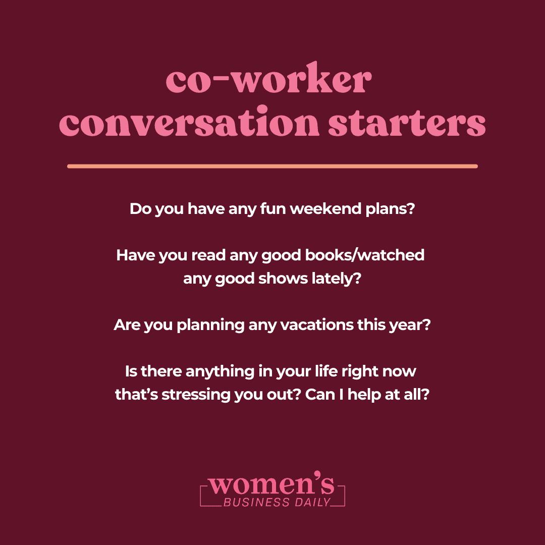 co-worker  conversation starters