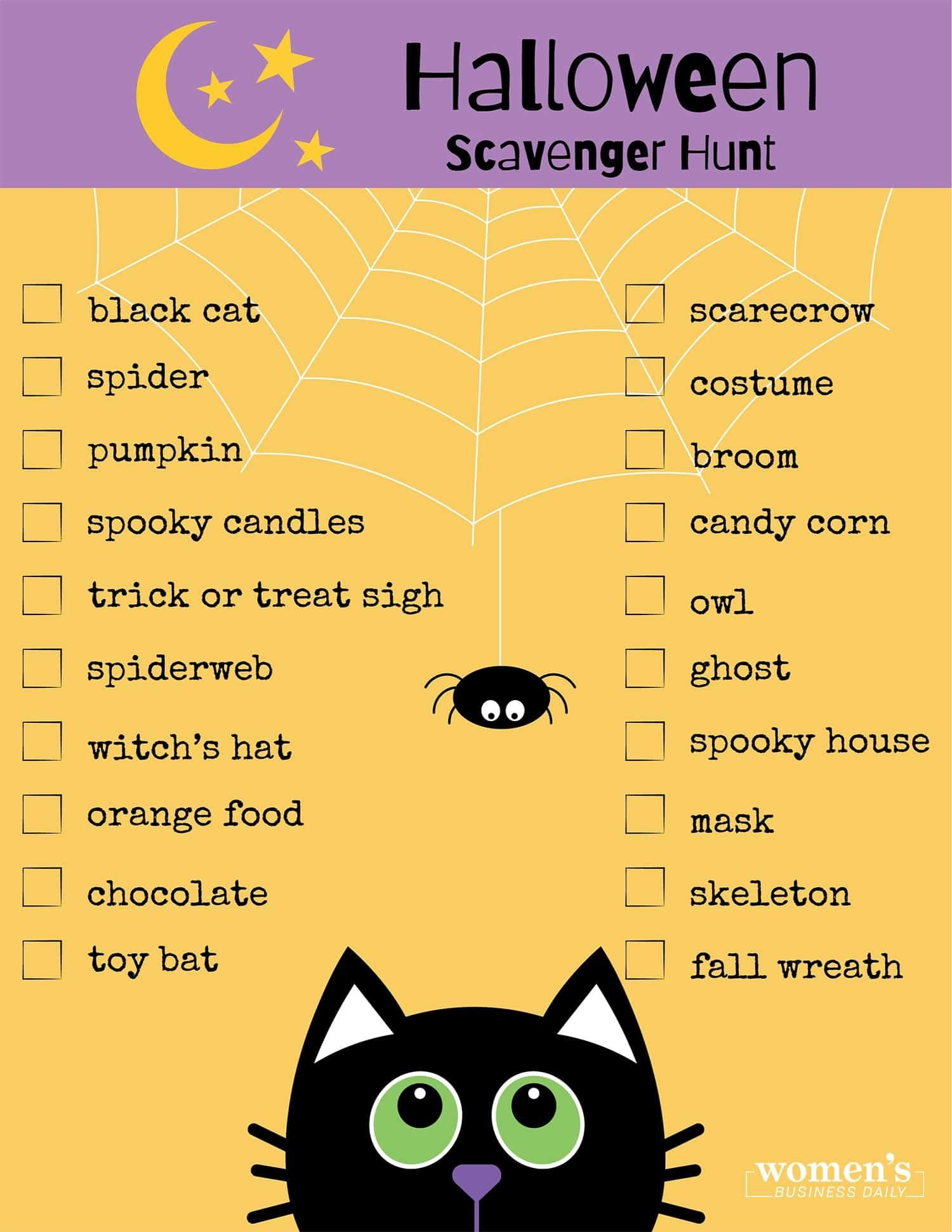halloween scavenger hunt list