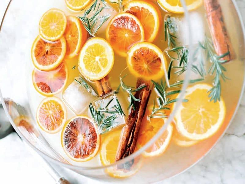 winter citrus punch cocktail